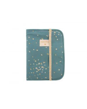 Nobodinoz - Protège carnet de santé Poema - Gold Confetti/ Magic Green