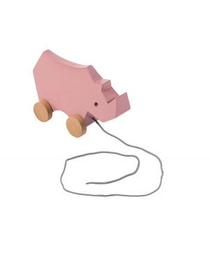 SEBRA - Wooden pull-along toy - rhino - vintage rose