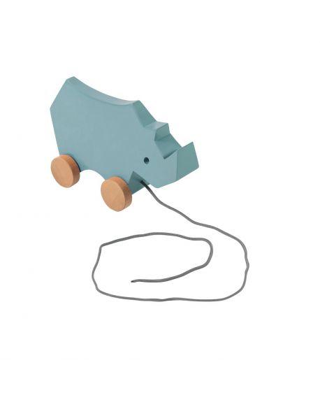SEBRA Wooden pull-along toy, rhino, cloud blue