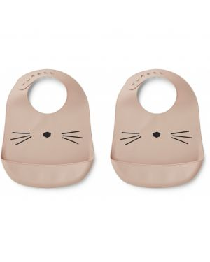 Liewood - Tilda silicone bib cat - Rose - Pack of 2