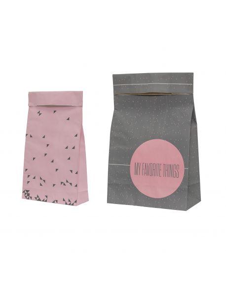 Bloomingville - Pochette cadeau - Rose & Gris - Pack de 2