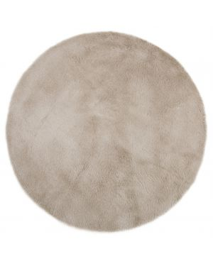 PILEPOIL - ROUND RUG IN FAKE FUR - Middle grey Circle