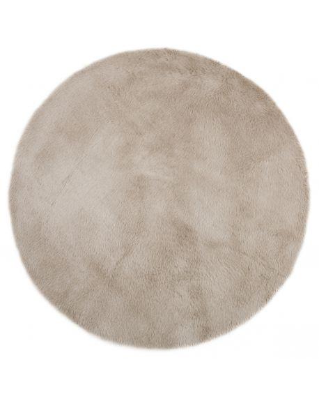 PILEPOIL - ROUND RUG IN FAKE FUR - Middle grey Circle