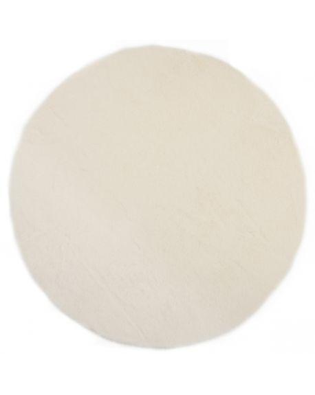 PILEPOIL-ROND Tapis en fausse fourrure/Blanc
