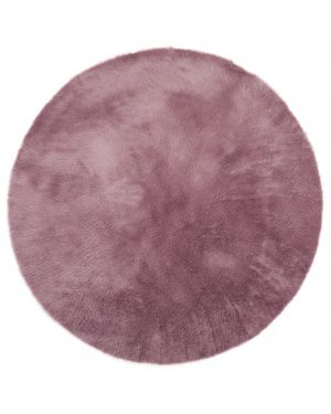 PILEPOIL - ROUND RUG IN FAKE FUR - Grey Purple Circle