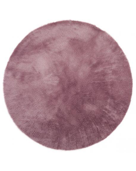 PILEPOIL-ROND Tapis en fausse fourrure/Mauve grisé