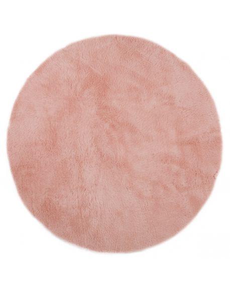 PILEPOIL-ROND Tapis en fausse fourrure/Rose poudré