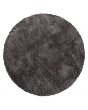 PILEPOIL - ROUND RUG IN FAKE FUR - Dark grey Circle