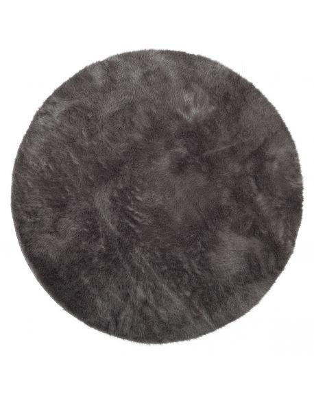PILEPOIL - ROUND RUG IN FAKE FUR - Dark grey Circle