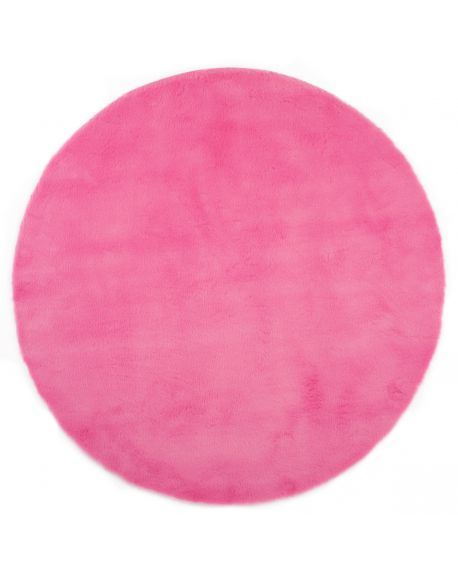 PILEPOIL - ROUND RUG IN FAKE FUR - Pink Circle