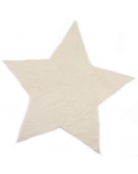PILEPOIL-ETOILE Tapis en fausse fourrure/Blanc