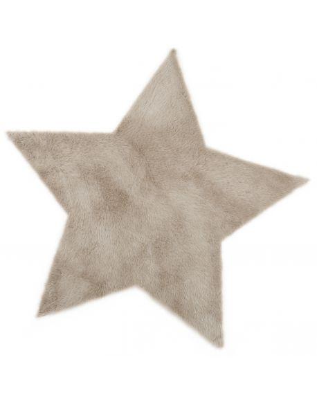 PILEPOIL - Tapis étoile en fausse fourrure - Taupe