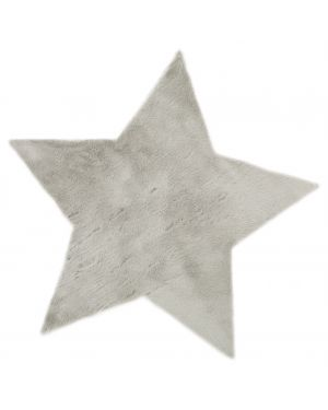 PILEPOIL - STAR RUG IN FAKE FUR - Light grey Circle (Arsenic)
