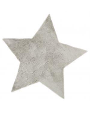 PILEPOIL - Tapis étoile en fausse fourrure - Gris clair