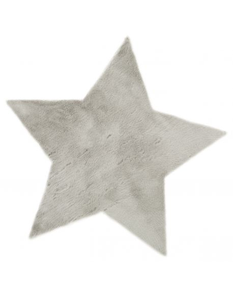 PILEPOIL - STAR RUG IN FAKE FUR - Light grey Circle (Arsenic)