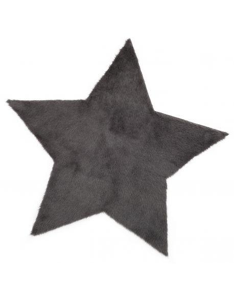 PILEPOIL - STAR RUG IN FAKE FUR - Dark grey Circle