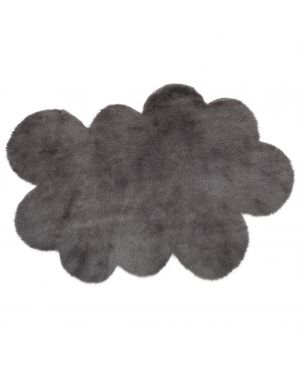 PILEPOIL - CLOUD RUG IN FAKE FUR - Dark grey Circle / 2 sizes