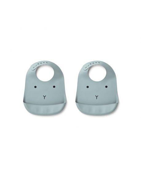 Liewood - Tilda silicone bib Rabbit - Sea Blue - Pack of 2