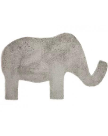 PILEPOIL - Tapis éléphant en fausse fourrure - Gris clair