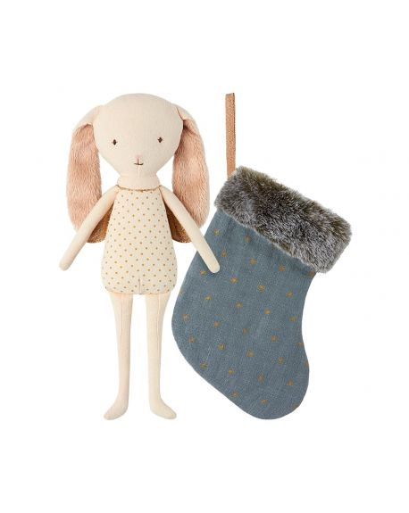 MAILEG - lapin Ange dans sa chaussette - Bleu