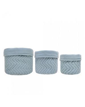 JACK N'A QU'UN OEIL - 3 Quilted Storage Basket - Powder Blue