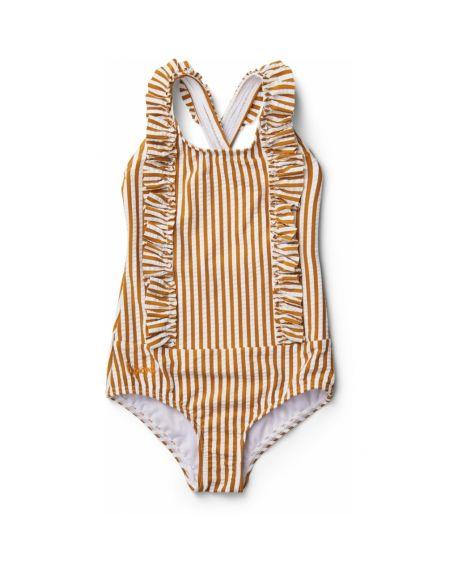 Liewood - Moa swimsuit seersucker - Mustard/white