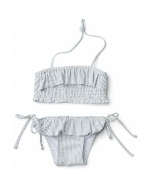 Liewood - Riley bikini set seersucker - Sea blue/white