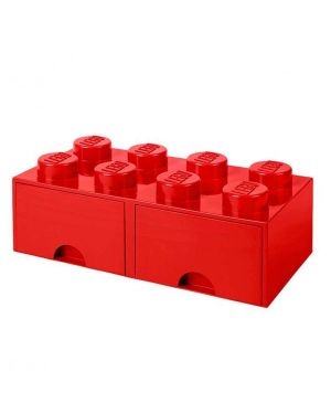LEGO - BOITE DE RANGEMENT TIROIR - 8 plots - Rouge