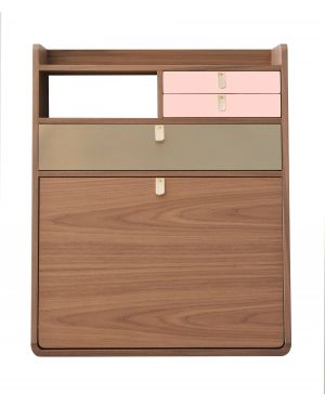 Harto - Gaston wall secretary - Walnut - 80 cm - different colors available for drawer