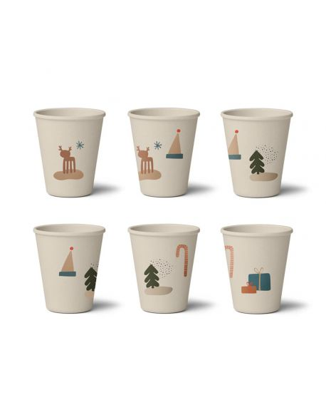 Liewood - Gertrud Bamboo cup - 6 pack - Holiday Mix