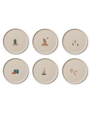 Liewood - Gertrud Bamboo plates - 6 pack - Holiday Mix