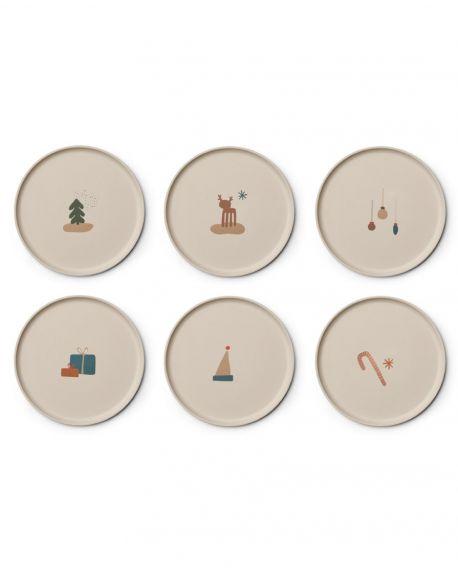 Liewood - Gertrud Bamboo plates - 6 pack - Holiday Mix