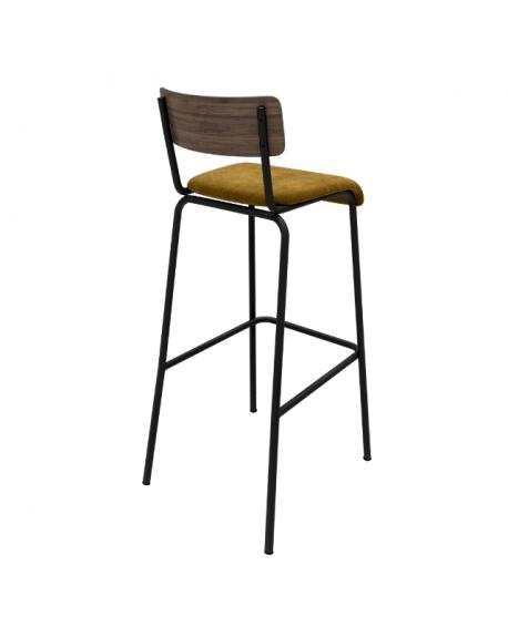 NEW – Chaise Haute Suzie – bicolore chêne foncé & Velours Jaune Ocre Pieds Noirs – 65cm