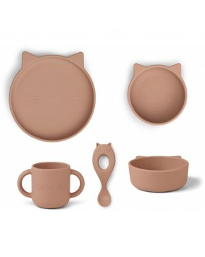 Liewood - Dinner Set Carol Package - Cat dark rose