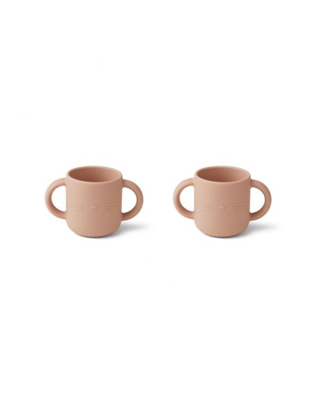 Liewood - Gene Silicone Cup 2 Pack - Cat dark rose