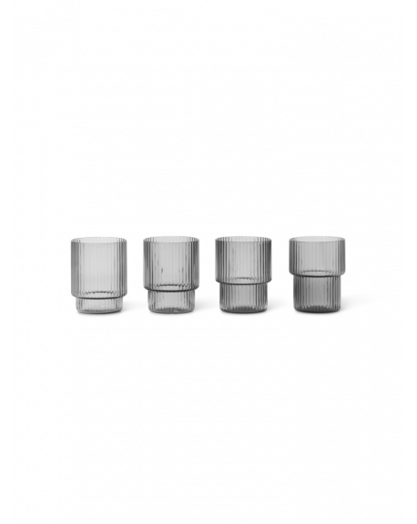 FERM LIVING - Small Ripple Glasses - Smoked Grey - Set of 4