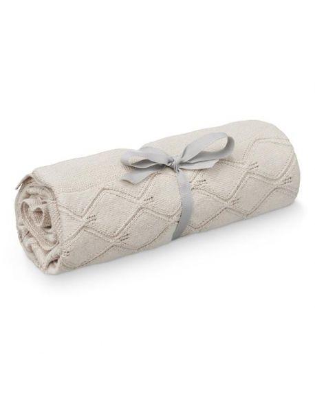CAM CAM COPENHAGEN - Leaf Knit Blanket 80x100cm - GOTS - Sand