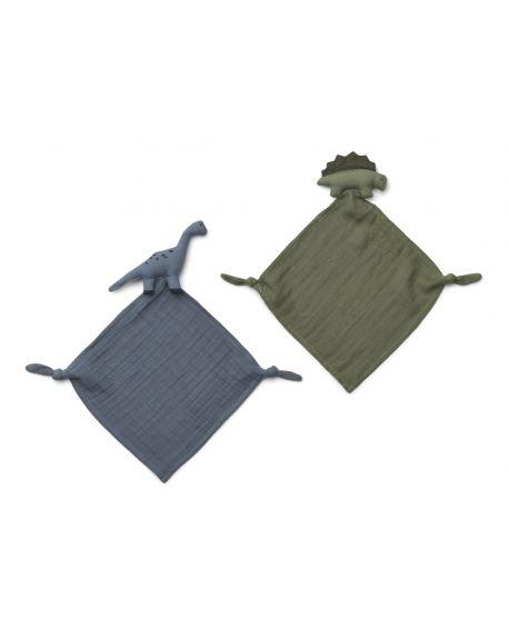Liewood - Yoko mini cuddle cloth 2-pack - Dino Blue mix