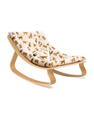CHARLIE CRANE - Baby Rocker Levo in Beech with Rose in April Fawn Cushion