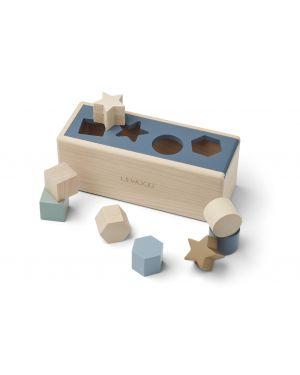 Liewood - Puzzle en bois Midas - Geometric bleu baleine