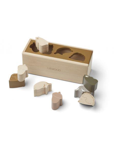 Liewood - Puzzle en bois Midas - Animaux caramel multi mix