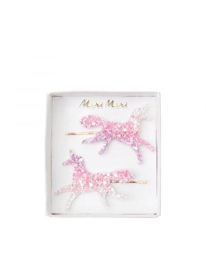 Meri meri - Unicorn Ombre Glitter Hair Slides - set of 2