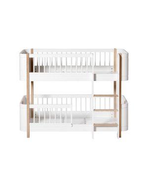 Oliver Furniture - Mini+, lit superposé mi-haut, 68x162cm. blanc/chêne