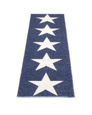 PAPPELINA - VIGGO STAR BLUE METALLIC - Design plastic rug 4 sizes available