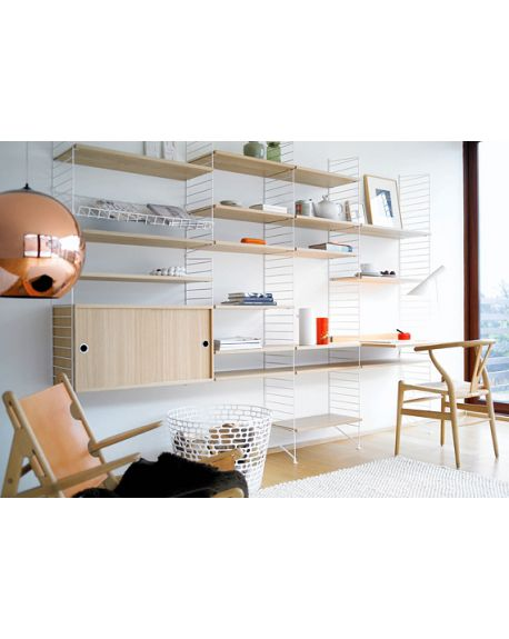 STRING - SHELVING SYSTEM 2 - White and Oak