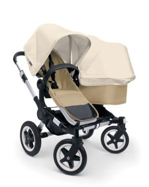 BUGABOO - DONKEY - DUO - pram with alu and sand base + fabric set + extension alu pram and black base + extendable sun canopy
