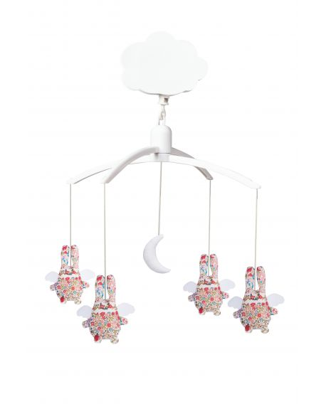 TROUSSELIER - MUSICAL MOBILE FOR COT OR PLAYPEN - Angel rabbits in Liberty