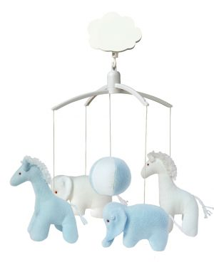 TROUSSELIER - MUSICAL MOBILE FOR COT OR PLAYPEN - Blue Girafes and Elephants