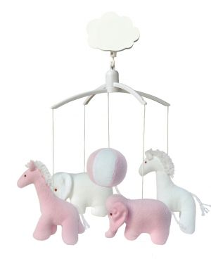 TROUSSELIER - MUSICAL MOBILE FOR COT OR PLAYPEN - Pink Girafes and Elephants