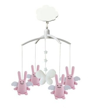 TROUSSELIER - MUSICAL MOBILE FOR COT OR PLAYPEN - Pink Angels rabbits